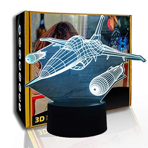 JINYI Avión de guerra de luz nocturna 3D, lámpara de ilusión óptica LED, luz de humor, G- Control de Telefonía Móvil, Decoración del hogar, Acrílico