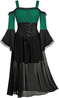 comprar comparacion Vestido de Halloween, Vestido de Corbata con Manga de Mariposa y Hombros Descubiertos de Gran tamaño para Mujer, Elegante ...