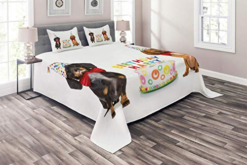 Dachshund 4 Piece Duvet Cover Flat Sheet and 2 Pillow Shams Bedding Set for Adult/Kids/Children/Teens, King Couple of Bow Tied Sausage Dogs with Happy Birthday Cake and Party Cone Hats, Multicolor