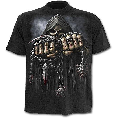 Spiral Game Over Hombre Camiseta Negro S, 100% algodón, Regular