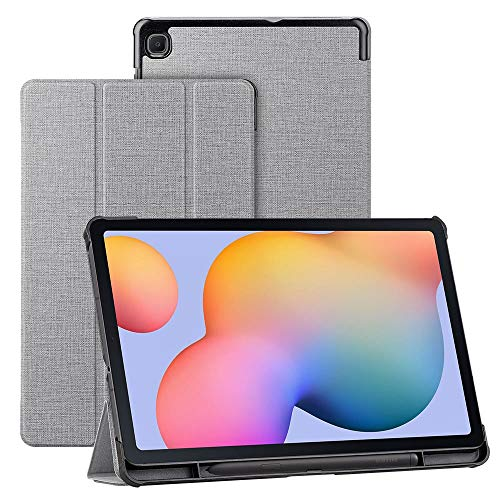CRESEE Galaxy Tab S6 Lite 10.4 Case, with S Pen Holder, Smart Folio Flip Cover Stand [Auto Wake/Sleep] [Magnetic Closure] PU Slim Book Case for Samsung Galaxy Tab S6 Lite (Gray)