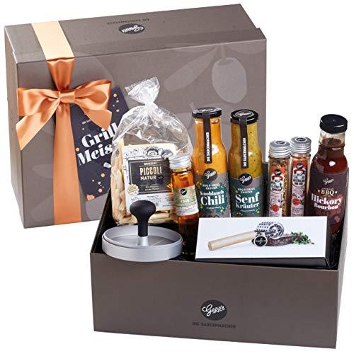 Gepp's Feinkost Deluxe Geschenkbox für Männer I Geschenkidee zum Geburtstag, für Grill-Liebhaber I Gefüllt mit Saucen-Spezialitäten, Rubs, Grissini, Fleischzartmacher und Burgerpresse (A0019)