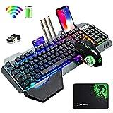 ゲーミングキーボードマウスセット、リンボーLEDバックライト、英語配列,4800mAh大容量、無線、2400DPIマウス、RGB、メタルパネル、充電可能、防水キーボード、2.4GHZワイヤレステクノロジー、6鍵静音マウス+マウスパッド (blackmix) (ブラック)