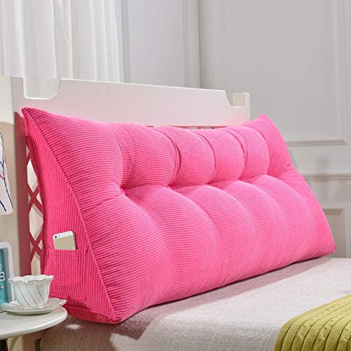 Wenbin Kopfbrett Nacht Polster Stoff Art Soft Case Bett Großes Zurück Schlafzimmer Sofa-Kissen, EPE Füllung, 4 Farben, 9 Grössen (Color : Pink, Size : 120×50×20cm)