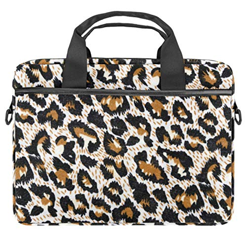 Leopard print Laptop Shoulder Bag Carrying case with Accessory Storage Pockets (13.4-14.5 inch)