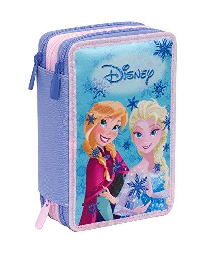 Astuccio 3 Zip Disney , FROZEN MAGIC LIGHTS , Blu , Con CONTENUTO: matite, pennarelli ..., poliestere