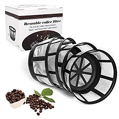 FIFOKICHO Reusable 8-12 Cup Basket Coffee Filter for Most Mr. Coffee and Black & Decker Regal and Procter Silex Coffee Makers BPA Free Dishwasher Safe ECO-Friendly 4 Packs