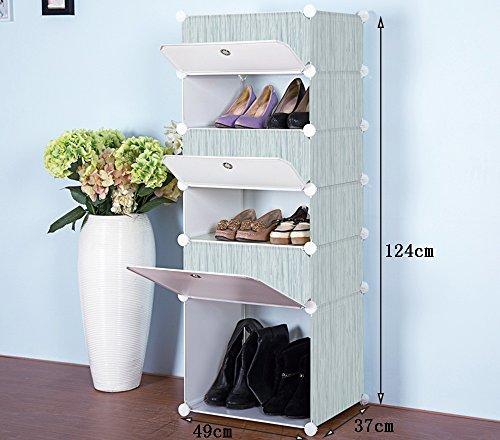 Chaussure Multi-Couches imperméables résistant à la poussière résine en Plastique Montage Rack, Simple Multifonction dortoir ménage Shoe Cabinet (Taille : 49 * 37 * 124cm)