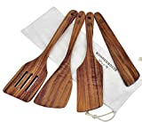 Wooden Spatula for Cooking, Kitchen Spatula Set of 4, Natural Teak Wooden Utensils including Wooden Paddle, Turner Spatula, Slotted Spatula and Wood Scraper. Nonstick cookware.