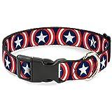 Buckle-Down Captain America Shield Repeat Navy Plastic Clip Collar, Narrow Small/6-9'