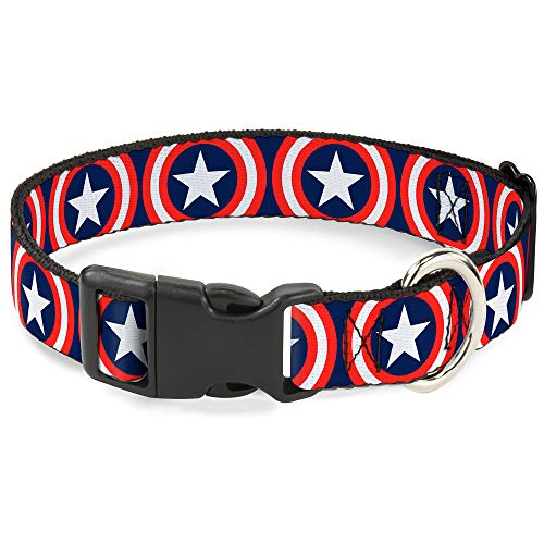 Buckle-Down Marvel Universe Captain America Shield Repeat Navy Plastic Clip Collar, Large/15-26'