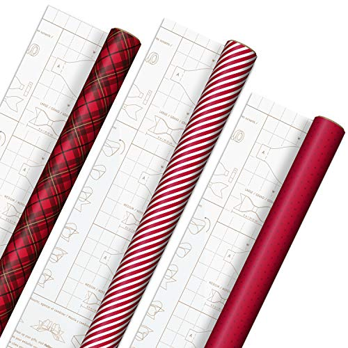 Hallmark Holiday Wrapping Paper with DIY Bow Templates on Reverse (3 Rolls: 120 sq. ft. ttl) Red Plaid, Stripes, Polka Dots for Christmas, Valentines Day, Birthdays, Graduations