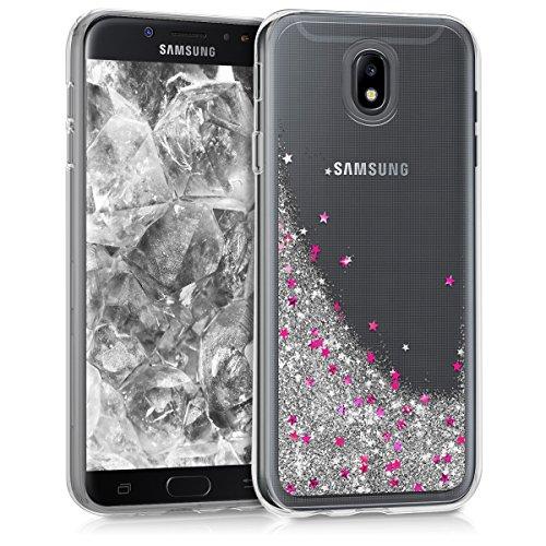 kwmobile Samsung Galaxy J7 (2017) DUOS Hülle - Handyhülle für Samsung Galaxy J7 (2017) DUOS - Handy Case in Schneekugel Sterne Design Silber Pink Transparent