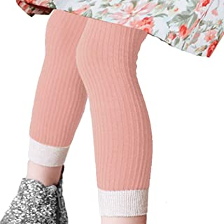 COTTON DAY 2 Pairs Rib Cotton Knit Girls Fashion Footless Ankle Legging with Lurex Cuff