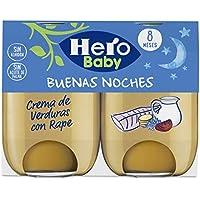Hero Baby Buenas Noches Crema de Verduras con Rape Tarrito de Puré para Bebés a partir de 8 meses, 2 x 190 g