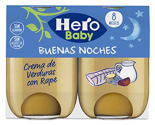 Hero Baby Buenas Noches Crema de Verduras con Rape Tarrito de Puré para Bebés a partir de 8 meses, 190 g