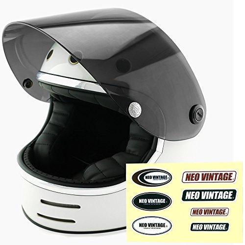 NEO VINTAGE レトロフューチャー フルフェイス SG規格品 ステッカー付 [ホワイト×ダークスモークシールド 白 Lサイズ:59-60cm対応] VT-9 バイクヘルメット