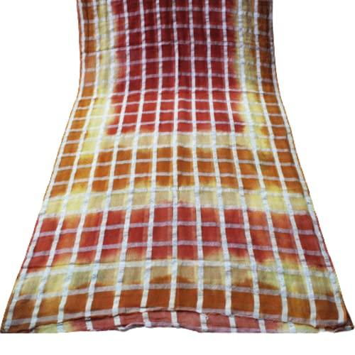 Vintage Sari Checked Printed Home Décor Seide Handarbeitsmaterial Braun Gebrauchtes Kleid Frauen Wickeln Indische Saree Kleidung