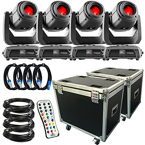(4) CHAUVET DJ Intimidator Spot 375Z IRC 150 W LED Moving Head Lights Packaged with Remote Control and Cases