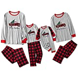 Sanahy Pyjama Noel Family Set, Pyjama Frau Mann Weihnachten Junge Mädchen Nachtwäsche Nachtwäsche Oberteil und Hose 2 Stück Schlafanzug Schlafanzug