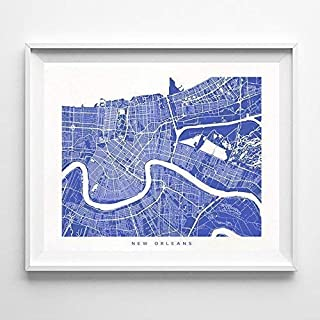New Orleans Louisiana Street Road Map Home Decor Poster Urban City Hometown Wall Art Print - 70 Color Options - Unframed