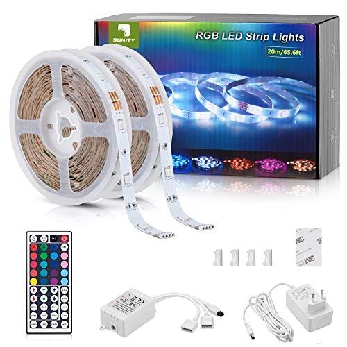 Tira LED 20m, Tiras LED RGB 20 Metros, 5050 SMD Tiras de Led 24V con Control Remoto