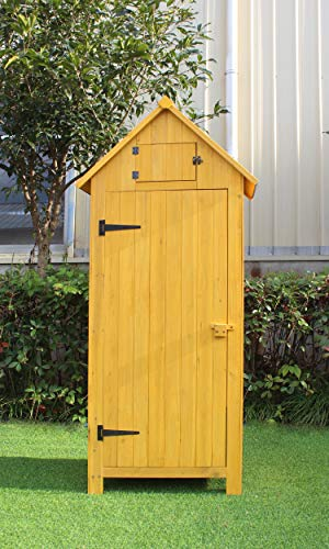 Hanover HANWS0102-YEL, 3 Shelves and Locking Latch in Yellow 2.5 W x 1.7 D x 5.8 Ft. H Outdoor Wooden Storage Shed with Pitched Roof