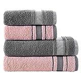 ClearloveWL Toallas baño, 4 unids Conjuntos de Toalla de algodón Puro Toalla de Cara de Color Puro Secado rápido Toalla casera Hotel de Viaje Suministros de baño