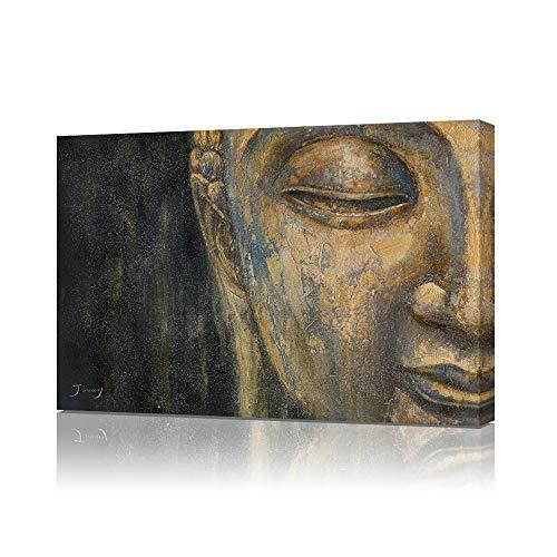 B BLINGBLING Buddha Canvas Wall Art Print: Gold Buddha Head Zen Painting Decor Black and Gold Poster for Living Room Yoga Room 24'x32'