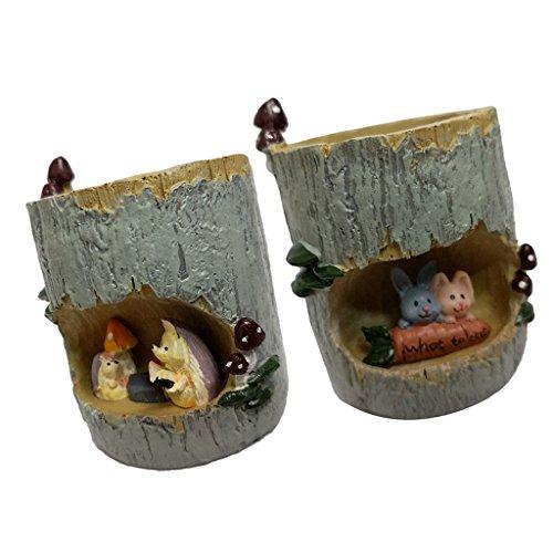 Sharplace Set de 2x Pot de Fleurs Accessoires pour Plantes Cache-Pot en Résine Ornement de Jardin Maison