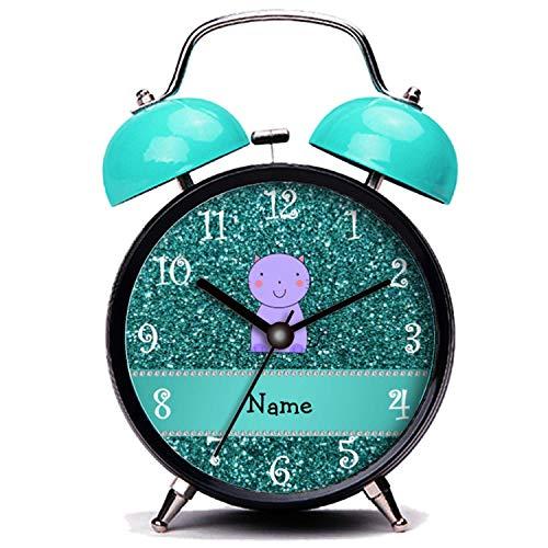 GIRLSIGHT Blauer Wecker, Nette Katze Personalisierte Name lila Katze Türkis Glitzer Twin Bell Wecker mit Nachtlicht