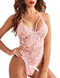 SheIn Women's One Piece Lingerie Floral Lace Strappy Halter Bodysuit Babydoll Underwear Pink Floral X-Large