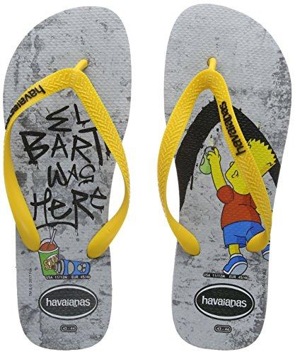 Havaianas Unisex-Erwachsene Simpsons Zehentrenner, Mehrfarbig (Grey/Yellow), 45/46 EU