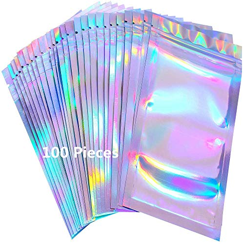100 Pieces Resealable Mylar Zip Lock Bags Smell Proof Bags Holographic Packaging Bag Foil Pouch for Party Favor Food…
