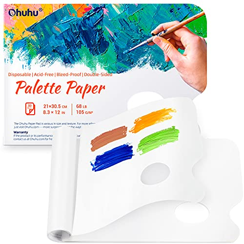 Disposable Palette Painting Pad, 8.3'x12' Ohuhu 2 Pack 68LB/105GSM Disposable Palette Paper Pad with Thumb Hole for Mixing Acrylic Paint Oils Watercolors Caseins Paint Mixing Palette Christmas Gift