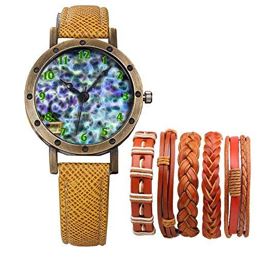 Meisjes Merk Retro Brons Vintage Lederen Band Dames Meisje Quartz Horloge Armband 6 Sets Abstract Bloemen 485.Pansy, Plant, Bloempot, Achtergrond