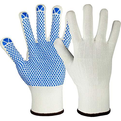 12 Paar Hase Safety Gloves Namur White Strickhandschuhe weiß, rutschsichere Arbeitshandschuhe mit PVC-Noppen Größe M (08)