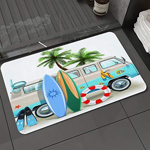 Alfombra de baño y Alfombra antideslizanteConcepto de Fin de Semana de Surf con Elementos de Buceo Aletas Snorkeling y Van Trip RAlfombrilla de Ducha de Microfibra (50x80cm)