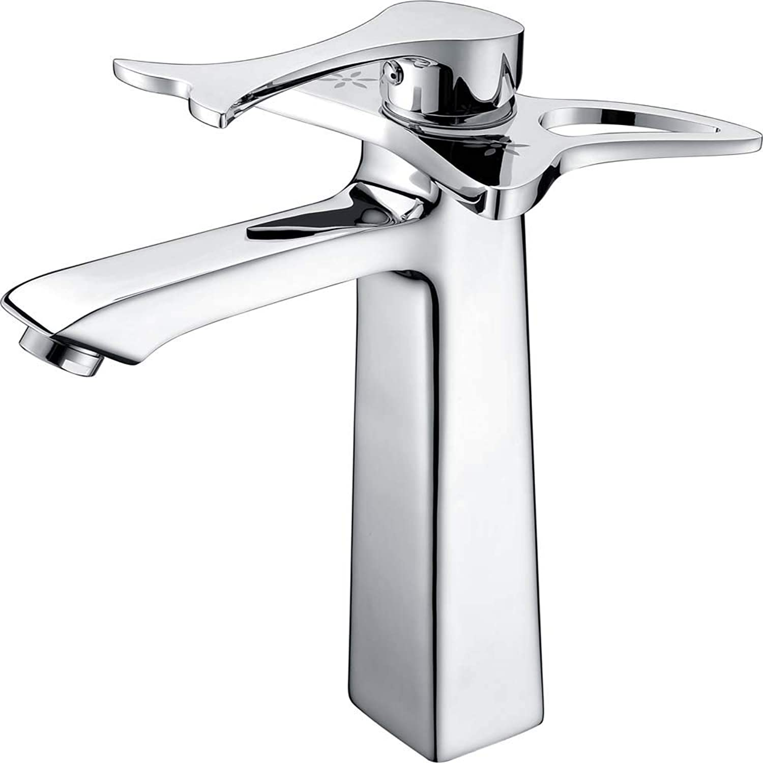 Copper Single Hole Hot and Cold Water Faucet Above Counter Basin Mixed Water Bathroom Washbasin Faucet Chrome