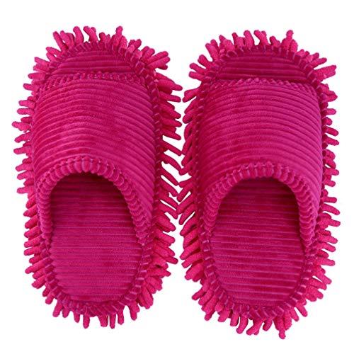 IMIKEYA Mikrofaser Hausschuhe Boden Reinigung Mop Abstauben Hausschuhe Boden Staub Schmutz Reinigung Pantoffel für Männer Und Frauen Rosy Warme Hausschuhe