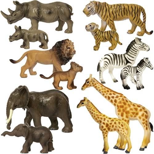 SB TOYS Premium Realistic Safari Zoo Wild Animals Set (12 Piece) - Parent and Baby Zoo Animals  Safari Animals  Jungle Animals  African Animals - Educational Child Development Toy - Animal Toy Figures