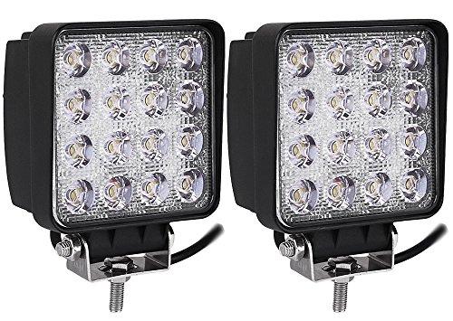Kaigeli888 Feux de Jour LED 48W 12V-24V Lampe Etanche IP67 Phare de Travail Lumière Avant Ultra Puissant Eclairage Anti-Brouillard Conduite Sécurité Blanc Froid Carré (2pcs)
