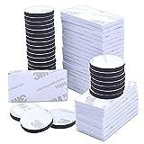 60 almohadillas adhesivas de doble cara, 3 m, cinta de montaje, rectangular y redondo