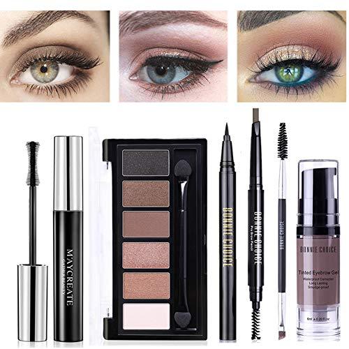 BONNIE CHOICE 6 PCS Eye Makeup Kits for Women, Eye Makeup Set for Beginners, Includes Eyebrow Pencil, Eyeliner Pen, Mascara, Eyeshadow Palette, Eyebrow Gel and Eyebrow Brush