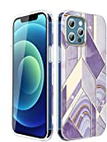 LUOLNH Compatible with iPhone 12 Pro Max Case,iPhone 12 Pro Max Case for Girly,Gold Glitter Sparkle Marble Design Shockproof Soft Silicone Rubber TPU Bumper Cover Skin Phone Case (Geometric&Purple)