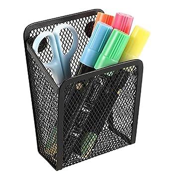 Magnetic Pencil Holder,Mesh Stainless Steel Pen Basket Metal Writing Utensil Storage Organizer for Whiteboard,Blackboard,Kitchen Locker Home or Office