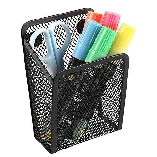 Soporte magnético para lápices, cesta de malla de acero inoxidable, organizador de almacenamiento de utensilios de escritura de metal para pizarra, pizarra, cocina, taquilla, hogar u oficina