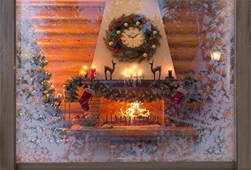 YongFoto 2,2x1,5m polyester foto achtergrond Kerstmis haard slinger klok rensneeuwvlokken venster kaarsen nieuw jaar fotografie achtergrond voor fotoshoot party kinderen fotostudio rekwisieten
