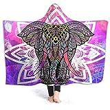 Avalokitesvara Colorful Elephant Mandala Flowers Boho Flannel Fleece Hoodie Blanket Throw Soft Warm Lightweight Microfiber Blankets for Bed Couch Chair Living Room 50'x40' for Kid