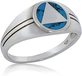 12 Step Jewelry Alcoholics Anonymous 925 Sterling Silver Men's AA Unity Ring with Turquoise